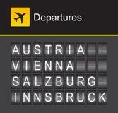 Van het de tikalfabet van Oostenrijk de luchthavenvertrek, Wenen, Salzburg, Innsbruck Stock Afbeeldingen