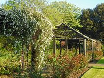 Van het de tuinlatwerk van het paradijspark de pergolastructuur Stock Foto