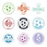 Van het de Typografiekenteken van de voetbalvoetbal het Ontwerpelement Stock Foto