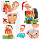 Van het de vakantieconcept van de winter de collage van Kerstmis Stock Afbeeldingen