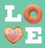 Van het de valentijnskaartconcept van de Donutsliefde het vectorontwerp Royalty-vrije Stock Foto's
