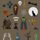 Van het de vampierkarakter van Draculapictogrammen de vector vastgestelde elementen van het het ontwerpbeeldverhaal Royalty-vrije Stock Foto