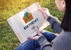 Van het de Vieringsgeluk van de verjaardagsverjaardag de Gift Huidig Concept Royalty-vrije Stock Foto