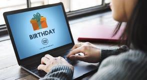 Van het de Vieringsgeluk van de verjaardagsverjaardag de Gift Huidig Concept Royalty-vrije Stock Foto's