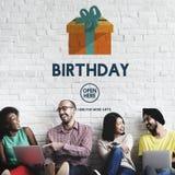 Van het de Vieringsgeluk van de verjaardagsverjaardag de Gift Huidig Concept Royalty-vrije Stock Afbeeldingen