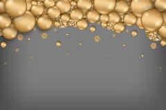 Van het de vieringsthema van de Chritmasvakantie de gouden gredient abstracte achtergrond met gouden klein lint die neer vallen royalty-vrije illustratie
