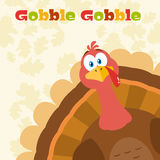 Van het de Vogelbeeldverhaal van dankzeggingsturkije de Mascottekarakter die van een Hoek gluren Royalty-vrije Stock Afbeelding