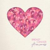 Van het de Voorlichtingsknipsel van borstkanker het roze hart voor liefde royalty-vrije illustratie