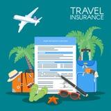 Van het de vormconcept van de reisverzekering de vectorillustratie Vakantieachtergrond, bagage, vliegtuig, palmen Royalty-vrije Stock Afbeeldingen