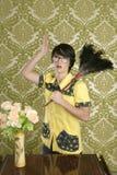 Van het de vrouwenhuis van de huisvrouw nerd retro de karweienbehang Stock Afbeeldingen
