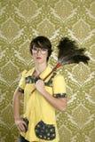 Van het de vrouwenhuis van de huisvrouw nerd retro de karweienbehang Royalty-vrije Stock Foto's