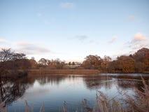 Van het de waterspiegelland van het de herfstmeer het landschaps lege ruimte Stock Fotografie