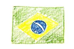 Van het de waterverfpotlood van Brazilië de vlagpictogram van het land nationaal Hand getrokken die illustratie op witte achtergr Royalty-vrije Stock Afbeelding