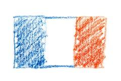Van het de waterverfpotlood van Frankrijk de vlagpictogram van het land nationaal Hand getrokken die illustratie op witte achterg Stock Fotografie