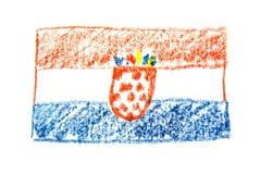 Van het de waterverfpotlood van Kroatië de vlagpictogram van het land nationaal Hand getrokken die illustratie op witte achtergro Royalty-vrije Stock Afbeeldingen
