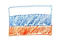 Van het de waterverfpotlood van Rusland de vlagpictogram van het land nationaal Hand getrokken die illustratie op witte achtergro Royalty-vrije Stock Fotografie
