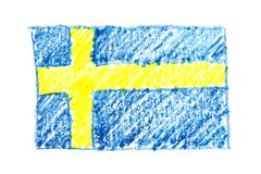 Van het de waterverfpotlood van Zweden de vlagpictogram van het land nationaal Hand getrokken die illustratie op witte achtergron Royalty-vrije Stock Fotografie