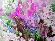 Van het de weidegebied waterverf het abstracte van achtergrond bloemenpatroonwildflowers van de de decoratiehand heldere vage gew Royalty-vrije Stock Foto