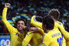 Van het de Wereldbeker 2014 bepalende woord van FIFA het spel de Oekraïne versus Frankrijk Royalty-vrije Stock Foto's