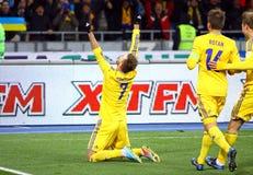 Van het de Wereldbeker 2014 bepalende woord van FIFA het spel de Oekraïne versus Frankrijk Stock Foto
