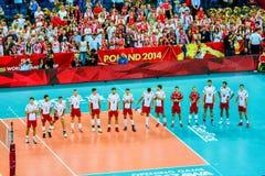 Van het de Wereldkampioenschap van volleyballmensen het openingsspel Polen-Servië, Warshau, 30 Augustus 2014 Stock Afbeeldingen