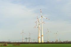 Van het de Windlandbouwbedrijf van windturbines de Windpark Royalty-vrije Stock Afbeeldingen
