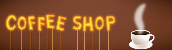 Van het de winkelbeeldverhaal van de koffie het neonteken Vector Illustratie