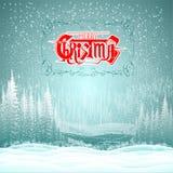 Van het de winterlandschap sneeuwbos als achtergrond met vrolijke Kerstmis Stock Foto's