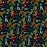 Van het de winterpatroon van de Kerstmis bloemenkroon van de de bloemvakantie van de de elementenkunst van het de bloemontwerp de vector illustratie