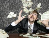 Van het de zakenman retro bureau van Nerd vliegende de dollarnota Royalty-vrije Stock Afbeelding