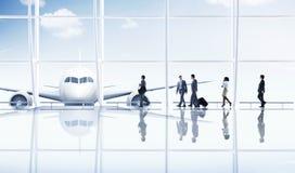 Van het de Zakenreisvervoer van de luchthavenreis het Vliegtuigconcept Stock Fotografie