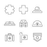 Van het de Ziekenwagenmateriaal van lijnpictogrammen de Medische vastgestelde pictogrammen Stock Afbeelding