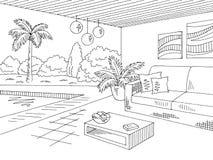 Van het de zitkamer de grafische zwarte witte landschap van het vakantiehuis vector van de de schetsillustratie vector illustratie