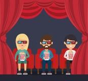 Van het de zittingshorloge van de karaktermens 3d film met pop graan Stock Illustratie