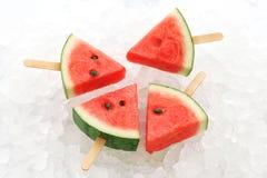 Van het de zomerfruit van de watermeloenijslolly yummy verse zoete dessert stock afbeelding