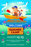 Van het de zomerkamp van het jonge geitje de affiche of de vlieger Stock Afbeeldingen