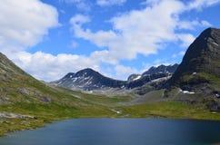Van het de zomerwater van Noorwegen de bergenmening Stock Afbeeldingen