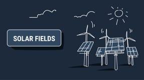 Van het de zonne-energiepaneel van de windturbine van de de bron gebieden vernieuwbaar post de elektriciteits alternatief concept vector illustratie