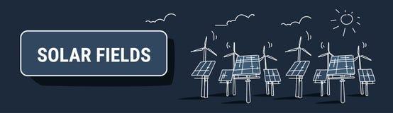 Van het de zonne-energiepaneel van de windturbine van de de bron gebieden vernieuwbaar post de elektriciteits alternatief concept stock illustratie