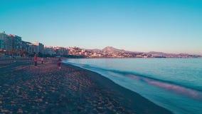 Van het de zonsondergangstrand van Spanje Malaga de tijdspanne van de het panorama4k tijd stock footage