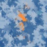 Van het het denim het digitale pixel van de maniercamouflage grunge blauwe en oranje textielpatroon vector illustratie