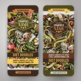 Van het het Dieetvoedsel van beeldverhaal de leuke kleurrijke vectorhand getrokken krabbels verticale banners Stock Fotografie