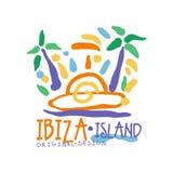 Van het het embleemmalplaatje van het Ibizaeiland het originele ontwerp, het exotische kenteken van de de zomervakantie, etiket v royalty-vrije illustratie