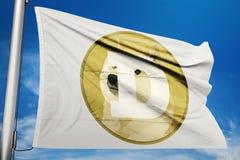 Van het het embleempictogram van de Dogecoindoge de vlagcrypto vector illustratie