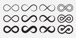 Van het het embleempictogram van de oneindigheidslijn teken van de de oneindigheids eindeloze lijn het vector onbeperkte stock illustratie