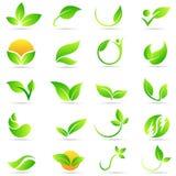 Van het embleemwellness van de bladinstallatie van de de aardecologie ontwerp van het het symbool het vectorpictogram royalty-vrije illustratie