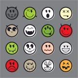 Van het emoticonpictogram van Halloween de vector vastgestelde inzameling Royalty-vrije Stock Afbeeldingen