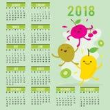 Van het het Fruit de Leuke Beeldverhaal van de ontwerperskalender 2018 Mango Cherry Kiwi Vector Royalty-vrije Stock Afbeelding