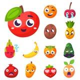 Van het fruitkarakters van beeldverhaalemoties van de de natuurvoeding vectorglimlach van de de aard gelukkig uitdrukking sappig  Stock Fotografie