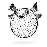 Van het fugusilhouet van kogelvisvissen het scherpe pictogram, vectorillustratietatoegering, beeldverhaalstijl voor T-shirts Stock Foto's